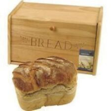 Traditional Wooden Bread Bin Kitchen Natural Colour Drop Down Front box storage