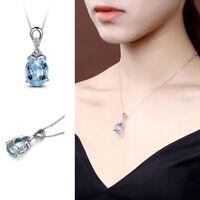 Fashion Women Jewelry Semi-precious Aquamarine Gemstone Silver Necklace Pendant