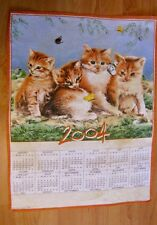 Torchon calendrier 2004 - Chatons - 44 x 58 cm