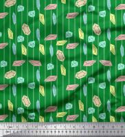 Soimoi Green Cotton Poplin Fabric Crystals & Stripe Print Fabric-jVC