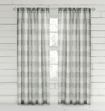 "Bee & Willow Buffalo Check 84"" Rod Pocket Window Curtain Panel - Charcoal"