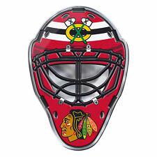 "NHL Officially Licensed Chicago Blackhawks Mask Premium Aluminum Emblem 3""x4"""