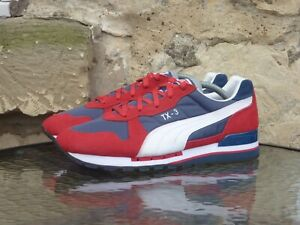 PUMA TX-3 Runners UK8 / US9 Red Blue White Retro Vintage Sneakers Trainers