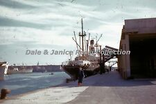 M057 35mm Slide Genoa Italy Harbor, Ship Enochoroa Red Border Kodachrome