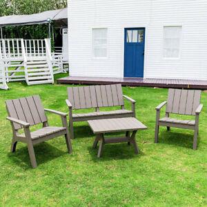 4pcs Outdoor Garden Furniture Sofa Set 1 Table & 1 Loveseat & 2 Single Armchair