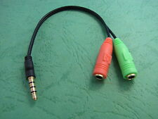 3.5mm Stereo Headphone Microphone Audio Splitter Cable Adapter Male to 2 Female