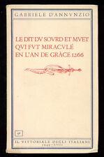 D'ANNUNZIO GABRIELE LE DIT DU SOURD ET MUET IL VITTORIALE DEGLI ITALIANI 1940