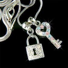 w Swarovski Crystal ~KEY TO MY HEART Love LOCK Pastel Pendant Charm Necklace New