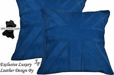 2X EXCLUSIVE LUXURY GENUINE SUEDE CUSHION DESIGN UNION JACK LARGE BLUE