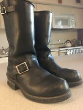 Womens HH WEST Double H Biker Boots Motorcycle Tall Black Leather Steel Toe Sz 8