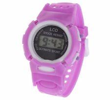 Reloj de Pulsera púrpura Niños Niñas Niños Digital Deportes LCD de banda suave de fecha y hora