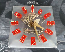 RARE VINTAGE 1950s 60s LAS VEGAS CASINO NOVELTY DICE CARDS CLOCK FULLY WORKING
