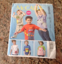 Pattern McCall's # M 6545 Kids Appliqué Tops Shirts Robot Dog Cat Size 6 7 8