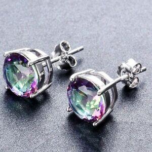925 Sterling Silver 8MM Round Mystic Topaz Gemstone Stud Earrings UK Seller