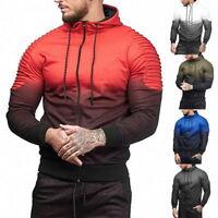 Mens Gradient Long Sleeve Hooded Hoodie Casual Fold Stripe Tracksuit Zipper