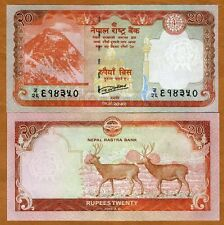 Nepal, 20 Rupees, 2016, P-New, UNC > Everest, Swamp Deers
