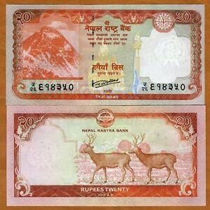 Nepal, 20 Rupees, 2016, P-78, UNC > Everest, Swamp Deers