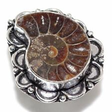 Handmade Ammonite Nautilus Fossil Jasper 925 Sterling Silver Ring Size: 9.5 #R64