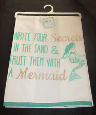 Write Your Secrets in Sand Trust Them With a Mermaid Dish Towel New Silver Aqua