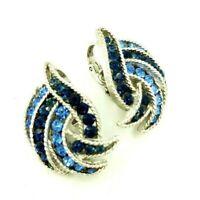 Crown Trifari Clip Earrings Blue Rhinestone Textured Silver Tone Cavalcade VTG