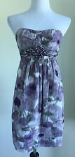 BCBG Max Azria Dress Lavender Purple Ivory Floral Strapless Size 2