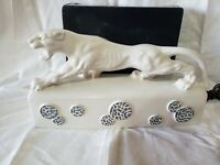 Rare Vintage KRON White Panther TV Lamp~Mid Century Ceramic 1950's