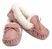Moccasin Slippers Ex Store Fleece Ladies New Faux Fur Lined Winter Warm Cozy