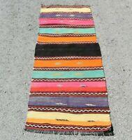 Vintage Hand Knotted Runner Rug Turkish Bohemian Nomadic Wool Ethnic Rug 2x5ft.