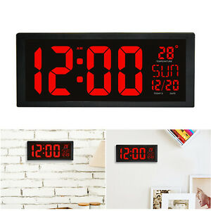 Digital Wall Clock Large LED Display School Office Electronic w Temperature