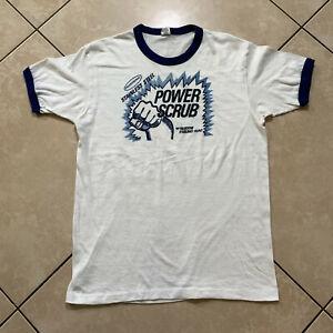 Rare Vintage 70s Stainless Steel Power Scrub Promo Ringer T-Shirt M VTG Teledyne