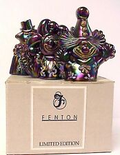 Fenton Plum Carnival Glass Set Of 4 Clowns Limited Edition Mint In Box Very Rare