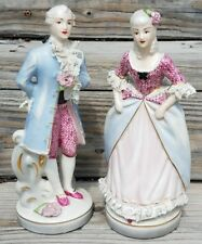2 Beautiful Vintage Colonial Victorian Man Woman Chantilly Figurines Lace French