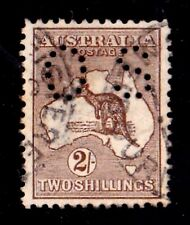 Australia 1913 Kangaroo 2/- Brown 1st Wmk Perf Small OS Used