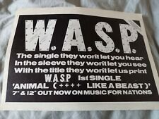 More details for w.a.s.p. - 1984 full page poster advert - animal (f**k like a beast)