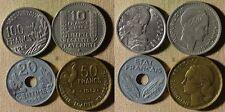 France:1948B 10 Fr CH.AU-UNC;1942 20 Ct;1952 50 Fr;1954 100 Fr All CH.AU  IR7031