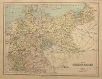 C1910 Landkarte Deutsche Reich Königreich Sachsen Brandenburg Berlin Mecklenburg