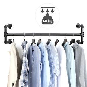 Schwerlast Kleiderstangen Garderobenstange für die Wand bis 60 kg 110cm HSR64BK