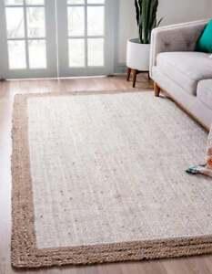 Jute Area Rug Oriental Hand Knotted Carpet Geometric Wool Vintage Traditional