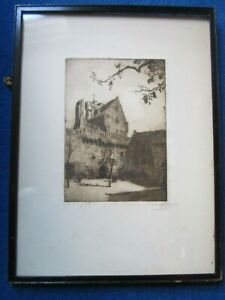 Fine engraving by Rhys of a monastery church possibly French