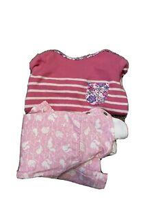 Jojo Maman Bébé 6-12 Months Pink Striped Top and Pink Bunny Top Bundle
