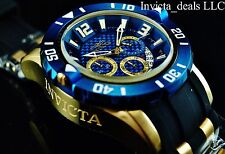 New Invicta Mens 50mm Pro Diver Quartz Chronograph 18K Gold IP Blue Dial Watch
