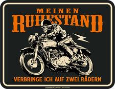 Biker Fun Schild - Ruhestand auf zwei Rädern - Alu Blechschild bedruckt Geschenk