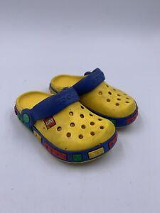 Boys Lego Crocs Shoes Slip On Sling Backs Size 6-7 Yellow