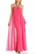 Aqua Dress Sz 6 Azalea Pink Full Length Chiffon Embellished Neckline Gown