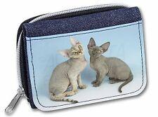 Two Devon Rex Cats Girls/Ladies Denim Purse Wallet Christmas Gift Idea, AC-20JW