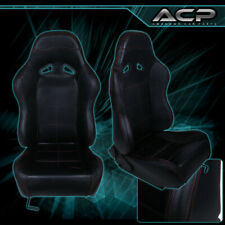 Black Leather Racing Seat With Red Stitching Fiberglass Reclinable Sliders Fits Seat