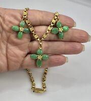 "Vintage Undyed Jadeite Jade & Solid 14K Yellow Gold Necklace, 18.5"", 32.7gr"