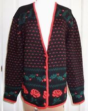 Christmas Sweater Woodstock by Bernard Virgin Wool V-Neck  Sz40  Ugly?