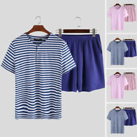 2PCS Mens Pyjama Set Summer Casual Striped T Shirts Shorts Set Loungewear Pajama