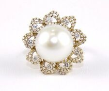 Huge South Sea Pearl & Diamond Halo Solitaire Ring 14k Yellow Gold 15mm 1.24Ct